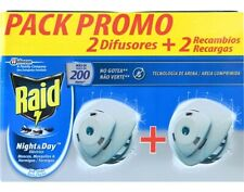 2x Raid Night Day Mosquito Flies Repellent Electric Diffuser Full Pack + Refill