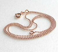 Women 45cm Rose Gold Plated Spring Ring Clasp Bead Small 1mm Thin Chain Necklace