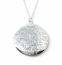 925 Silver Plt Open Round Flower Butterfly Photo Locket Pendant Necklace A