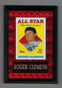 """Vintage 1990s 6.5"""" x 4.5"""" Topps Card Plaque Roger Clemens Red Sox All Star #3"""