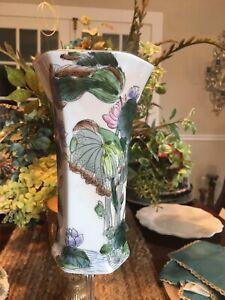 Vintage Toyo Vase Flowers Peacock /Lotus Leaves Hand Painted Made In Macau L115