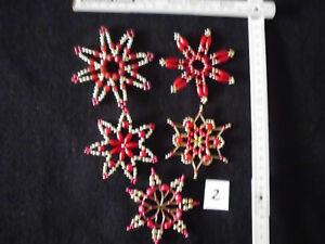 Weihnachtsstern 5 Perlensterne gold+silber+rot Weihnachten Deko Handarbeit