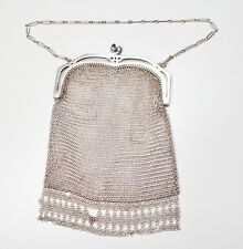 "Antique Art Deco German Silver Mesh Evening Purse Bag Sapphire Clasp 6.5"" As Is"