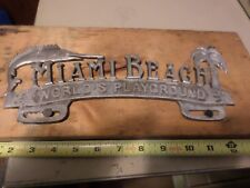 Vintage Miami Beach Worlds Playground Metal License Plate Art Decor Marlin Fish
