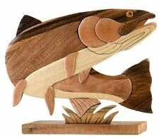 Steelhead Trout Fish Intarsia Wood Table Top Home Decor Lodge Fishing New