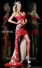 Sherri Hill Red Lace High Low Dress SZ 10