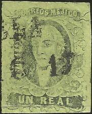 J) 1861 Mexico, Un Real, Hidalgo, District Puebla, Dry Print, Mn