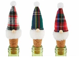 Mud Pie H0 Gnome For The Holidays Tartan Gnome Bottle Topper - Choose Design