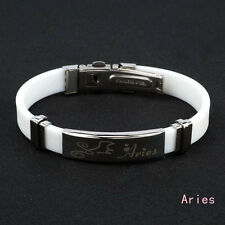 12 Constellation Zodiac Sign Fashion Mens Womens Silicone Bracelet Jewelry Gift