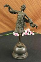 Bronze statue art deco Dancer sculpture, SIGNED Kernalan Hot Cast Figurine Decor