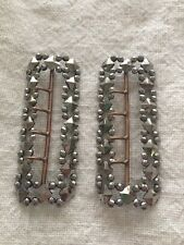 ANTIQUE Edwardian RIVETED Cut Steel Large Shoe BUCKLES Clips French Jewelry