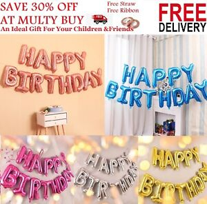 LARGE HAPPY BIRTHDAY SELF INFLATING BALLOON FOIL  BANNER BUNTING PARTY DECOR UK