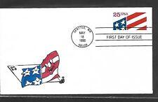 USA 1990 HAND PAINTED USA FLAG RICHARD ELLIS ANIMATED FIRST DAY COVER