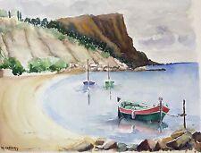 Grande aquarelle Marseille Provence port mer bateaux signée M. Cobourg