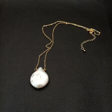 """17.25"""" White Coin Pearl Yellow Gold Plated Chain necklace."""