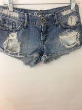 YMI Junior Denim Shorts Destroyed Sz 1  Low Rise Medium Wash
