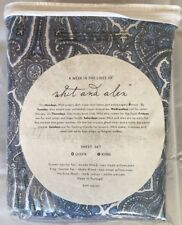 NWT Whit And Alex Gothic Paisley King Sheets Set 100% Cotton Denim Blue $200