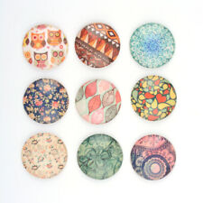 200pcs Assorted Color Printed Half Round Glass Cabochon Cover Flat Back 12mm