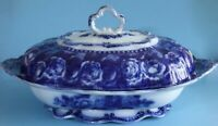 "Oval Flow Blue Covered Vegetable ""Josephine"" by Ridgway (s). c. 1912"
