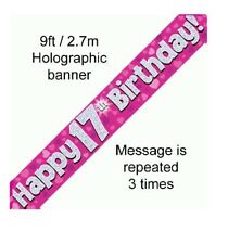 17TH BIRTHDAY PARTY PINK BANNER HOLOGRAPHIC 9FT/2.7M