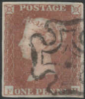 1841 SG8 1d RED BROWN PLATE 20 FINE USED 4 MARGINS MALTESE CROSS (FH)