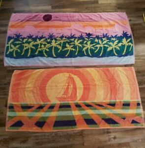 2 Vintage Large Beach Towel Palm Trees Sail Boat Pink/Green/Yellow/Orange