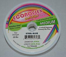 "Soft Flex Econoflex Steel Blue .019"" Medium Beading Jewelry Design Wire 30'"