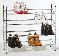 4 Nivel Cromo Shoe Rack Stand Pila capacidad & Extensible Dormitorio Hogar Oficina Estudio