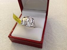 14k  white gold ring elephant design with diamond and sapphire