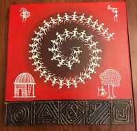 "Warli Painting Stretched Canvas Wall Art Mumbai India 12""x12"" Red White Bronze"