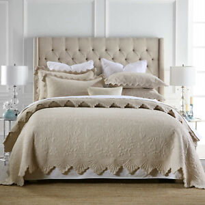 Cotton Patchwork Embroidery Camel Bedspread Quilted Coverlet Queen/King Bedding