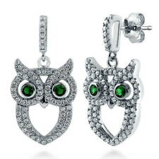 BERRICLE Sterling Silver Cubic Zirconia CZ Owl Fashion Dangle Drop Earrings