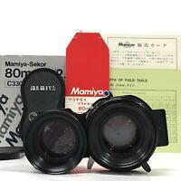Mamiya Sekor S 80mm F2.8 TLR Blue Dot Lens for C330 C220 w/ Box Cap etc [JC]