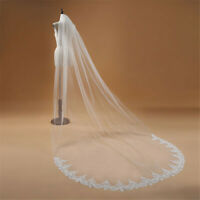 1T Cathedral Wedding Bridal Veil With Comb Lace Edge Accessories US Stock New