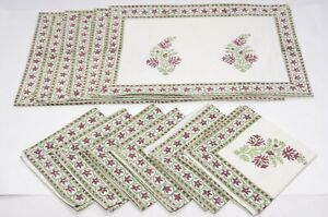 Hand Block Floral Printed Dining sets 1 Of 12 Napkin Cotton Mat Set Table Decor