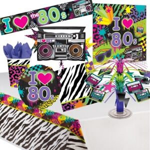 1980's Electro Pop Decade Party Tableware, Decorations and Balloons