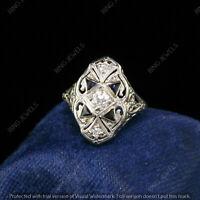 1.81 CT Round Diamond 14K White Gold Finish Filigree Art Deco Engagement Ring
