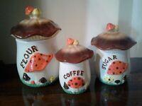 Vintage 70's Ceramic Mushroom Canisters with Lids Set of 3 Retro Kitchen Decor