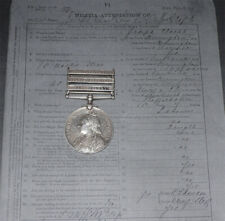 QSA MEDAL 3 CLASPS TO 4th SOUTH STAFFORDSHIRE REGT. + Papers & Roll