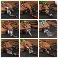 Multi Pattern Vintage Ethnic Wood Beaded Handmade Necklace Bohemian Pendants