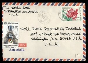 DR WHO 1992 IVORY COAST ABIDJAN AIRMAIL TO USA FLOWER  g00970