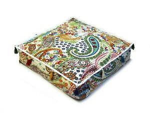 """Handmade Cotton Indian Kantha Square Pouf Ottoman Seating Cover 18X18X4"""" Inches"""
