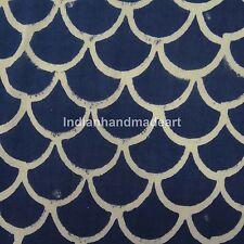 Hand Block Hand made Printed Indigo Blue Natural Fabric 100% Cotton Fabric