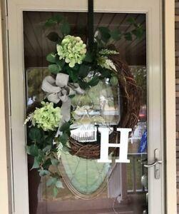 Monogram Front Door Wreath. Farmhouse Style Wreath Last Initial Hydrangea Wreath