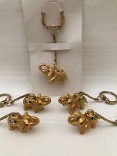 Set of 5 Vintage NOS Goldtone JeweledElephant Key Chains Ring Fob