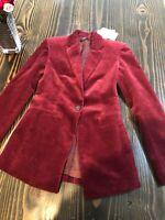 Theory Power Jacket Women's Blazer Size 00 Deep Mulberry Modern Corduroy $495NEW