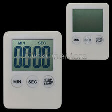 Mini Kitchen Timer LCD Digital Magnetic Count Up Down Alarm White