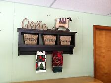 Cubby Wall Shelf Country Shelf for Baskets Bath Or Entryway W Towel Bar or Quilt