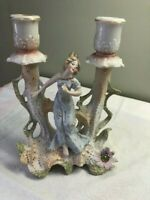 Antique German Bisque Hand Painted Double Candlestick Holder