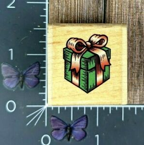 Stampabilities Present Gift Rubber Stamp 1999 B1006 Wood Mount #S39